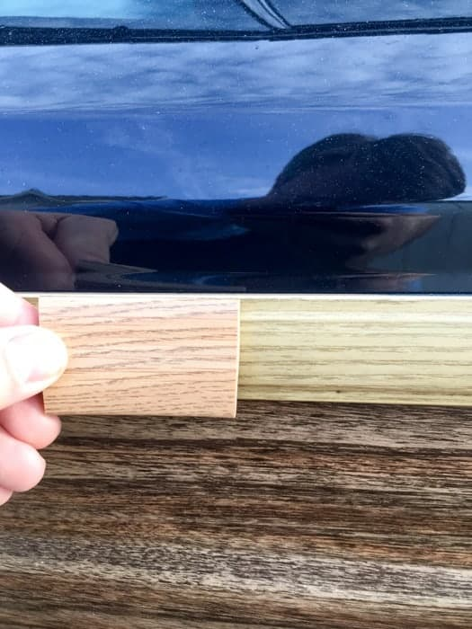 Replacement Jeep Grand Wagoneer wood grain trim sample from Team Grand Wagoneer