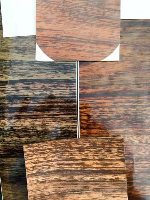 Replacement Jeep Grand Wagoneer wood grain samples - Side by Side Comparison