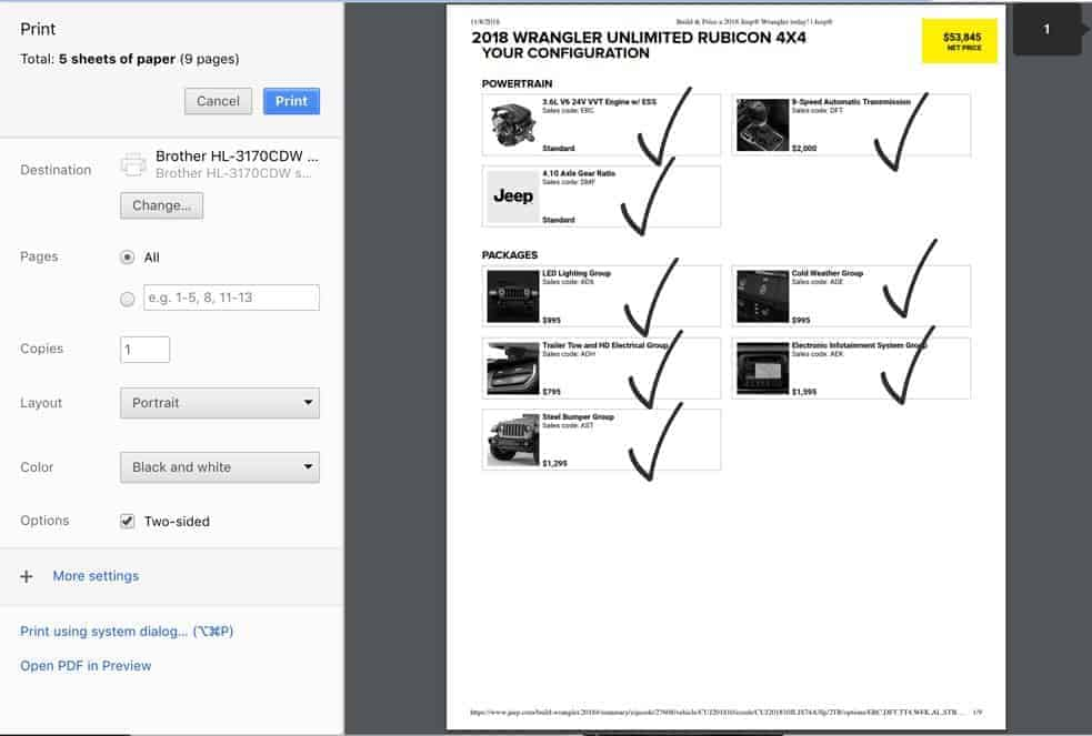 Print Build Sheet for Option - Jeep Wrangler Rubicon Price