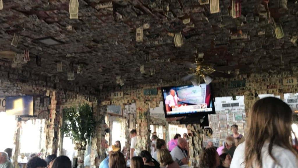 dollar bills at Johnson Creek Tavern