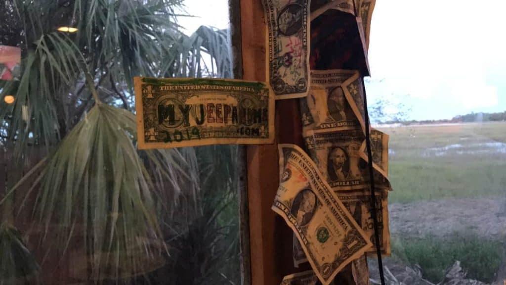dollar bills at Johnson Creek Tavern, Hunting Island State Park SC Food and Eating