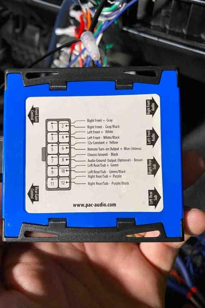 line output converter used in a Jeep Wrangler sound system install, 9-wire speaker wire for Jeep Wrangler speaker installation, Jeep wrangler speaker upgrade and installation #jeep #wrangler #yj