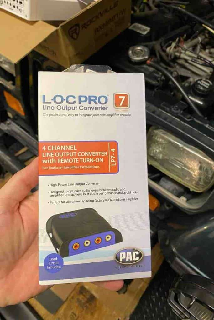 line output converter used in a Jeep Wrangler sound system upgrade