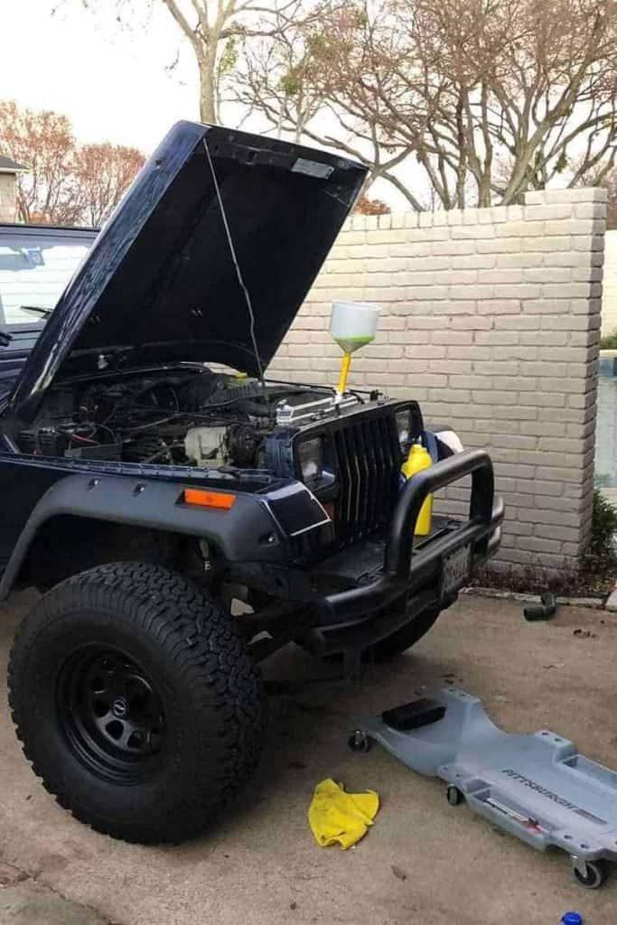coolant and radiator photos Jeep Wrangler YJ